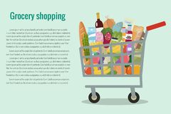 Grocery in a shopping cart. Vector illustration. Flat design. Grocery in a shopping cart. Vector illustration stock illustration