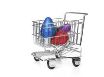 Grocery Shopping Cart on White Royalty Free Stock Photos