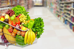 Free Grocery Shopping Cart With Vegetables. Stock Photos - 89722473