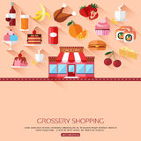 Grocery shopping concept background with place. For text. Collection of flat food and drinks icons. Vector illustration vector illustration