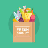 Grocery Shopping Concept Banner Illustration. Stock Photography