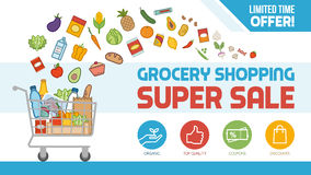Grocery shopping. Grocery discount shopping banner with shopping cart filled with food and products, offers and sales concept Royalty Free Stock Photography