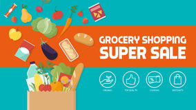Grocery shopping. Discount banner, paper shopping bag filled with vegetables, fruits and other products royalty free illustration
