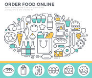 Grocery shopping and food ordering concept illustration. Stock Image
