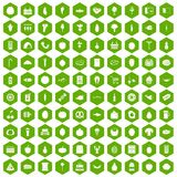 100 grocery shopping icons hexagon green. 100 grocery shopping icons set in green hexagon isolated vector illustration Stock Photos