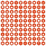 100 grocery shopping icons hexagon orange Stock Images