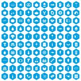 100 grocery shopping icons set blue. 100 grocery shopping icons set in blue hexagon isolated vector illustration vector illustration