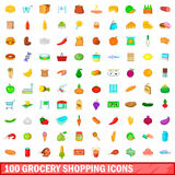 100 grocery shopping icons set, cartoon style Royalty Free Stock Photos