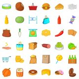 Grocery shopping icons set, cartoon style. Grocery shopping icons set. Cartoon style of 36 grocery shopping vector icons for web isolated on white background Stock Images