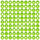 100 grocery shopping icons set green circle. Isolated on white background vector illustration stock illustration