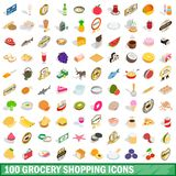 100 grocery shopping icons set, isometric 3d style. 100 grocery shopping icons set in isometric 3d style for any design illustration vector illustration