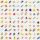 100 grocery shopping icons set, isometric 3d style. 100 grocery shopping icons set in isometric 3d style for any design vector illustration Stock Photos