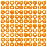 100 grocery shopping icons set orange. 100 grocery shopping icons set in orange circle isolated on white vector illustration stock illustration