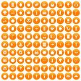 100 grocery shopping icons set orange. 100 grocery shopping icons set in orange circle isolated on white vector illustration Stock Illustration
