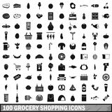 100 grocery shopping icons set, simple style Royalty Free Stock Images