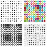 100 grocery shopping icons set variant. 100 grocery shopping icons set in 4 variant for any web design isolated on white stock illustration