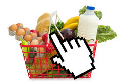 Grocery shopping over the Internet Royalty Free Stock Photography