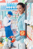 Grocery shopping at the store royalty free stock photos