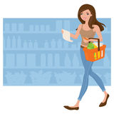 Grocery Shopping. Woman doing the grocery shopping vector illustration