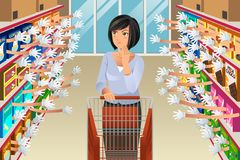 Grocery Shopping Woman With Many Choices Illustration. A vector illustration of Grocery Shopping Woman Faced With Too Many Choices vector illustration