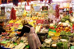 Grocery Stall at La Boqueria Market in La Rambla, Barcelona, Spain Royalty Free Stock Photography