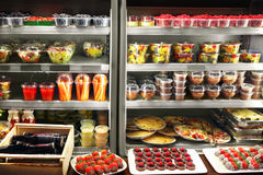 Grocery store. Fruits salad and various products in the store Stock Images