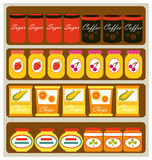 Grocery store. A vector illustration of grocery store shelves Stock Photo