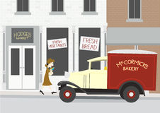 Grocery Store. Illustration of a 1940's grocery store scene Royalty Free Stock Images