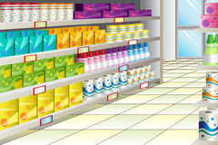 Grocery store aisle. A vector illustration of grocery store aisle Royalty Free Stock Photos