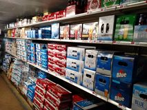 Grocery store beer cave Royalty Free Stock Photography