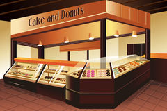Grocery store: cake and donuts section Royalty Free Stock Image