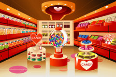 Grocery store: candy section. A vector illustration of candy section in grocery store