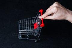 Small miniature shopping cart on dark black background stock image