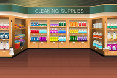 Grocery store: cleaning supply section Stock Images
