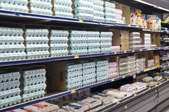 Grocery Store Dairy Shelves Stock Photos