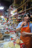 Grocery store in downtown Shanghai.. Wet markets and grocery stores are excellent places to look for fresh produce and dry products Royalty Free Stock Photo