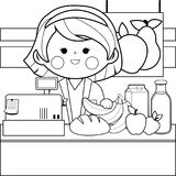 Grocery store employee at the counter. Black and white coloring book page. Grocery store female employee at the counter with products. Black and white coloring Stock Images