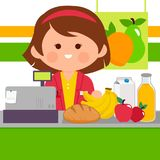 Grocery store employee at the counter. Grocery store female employee at the counter with products. Vector illustration Royalty Free Stock Images