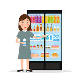 Grocery store female salesperson sales food. Grocery store female salesperson against glass refrigerator with food in flat style. Smiling gesturing woman retail royalty free illustration