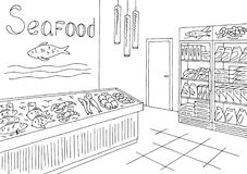 Grocery store graphic seafood fish shop interior black white sketch illustration vector. Grocery store graphic seafood fish shop interior black white sketch Stock Photos