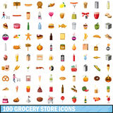 100 grocery store icons set, cartoon style. 100 grocery store icons set in cartoon style for any design vector illustration stock illustration