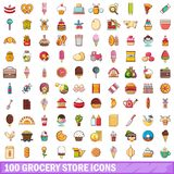 100 grocery store icons set, cartoon style. 100 grocery store icons set. Cartoon illustration of 100 grocery store vector icons isolated on white background Stock Photos
