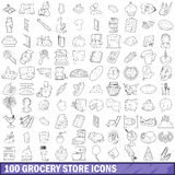 100 grocery store icons set, outline style. 100 grocery store icons set in outline style for any design vector illustration Stock Images