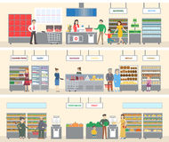 Grocery store interior. Men, women and children do shopping for the food and drink. Different departments as dairy, vegetables and alcohol Royalty Free Stock Image