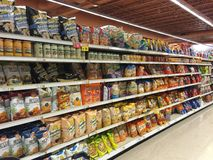 Grocery store interior snacks and chips aisle Royalty Free Stock Photography