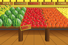 Grocery store produce aisle. A vector illustration of grocery store produce aisle Royalty Free Stock Photo