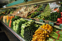 Grocery store produce section display. Display of produce in a grocery store stacked high Royalty Free Stock Photo