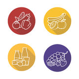 Grocery store products flat linear long shadow icons set Stock Photo