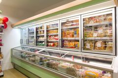 Grocery store. Products on shelves in modern grocery store shop supermarket Royalty Free Stock Photos