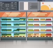Grocery Store Row With Fresh Products On Shelves Modern Supermarket Interior. Flat Vector Illustration royalty free illustration